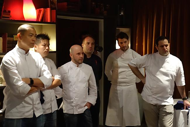 Les chefs André Chiang, Johnny, Julien Lavigne, Christophe Lerouy, Wilfrid Hocquet, Guillaume Galliot