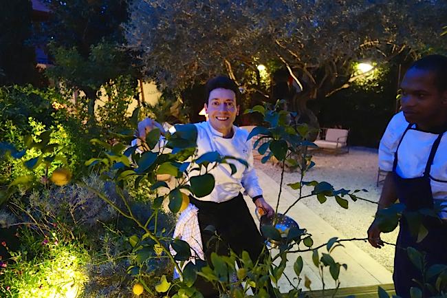 Pour sa recette, les citron sont ramassés directement dans le jardin du Jardin des Sens par le chef Hemmerlé