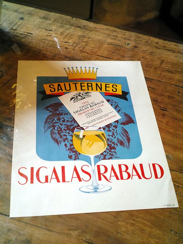 Affiche pour le vin du château Sigalas-Rabaud (années 50).