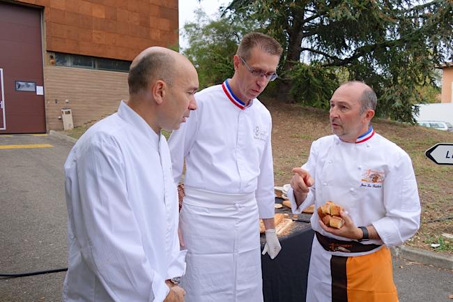 Les chefs Laurent Pourcel, Gérard Cabiron, et le MOF boulanger