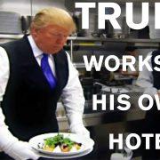 Donald Trump fait le show en travaillant comme serveur room service dans son hotel de Chicaco