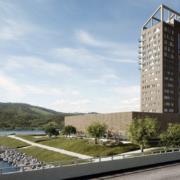 Norvège – Dans la tour Mjøs le plus haut bâtiment au monde construit en bois, on retrouvera un hôtel et des restaurants