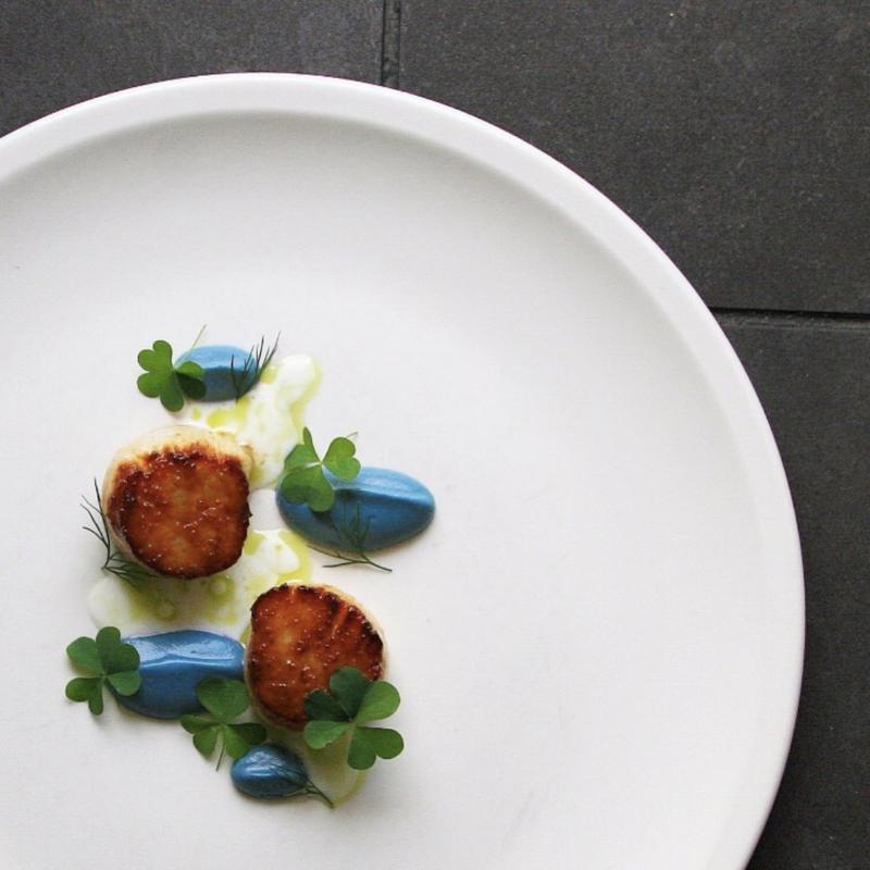 plat gastronomique bleu