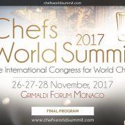 Le Chefs World Summit c'est dans quelques jours seulement à Monaco