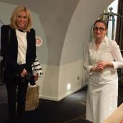 Anne-Sophie Pic reçoit Madame Brigitte Macron au Musée Pic, visite à Valence à l'occasion de la création des futurs locaux de LIVE, l'Institut des Vocations et de l'Emploi