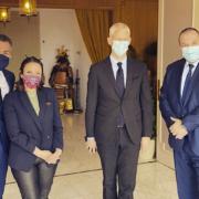 Le Ministre Franck Riester dans la Drôme auprès de la chef Anne-Sophie Pic et du vigneron Jean-Luc Colombo